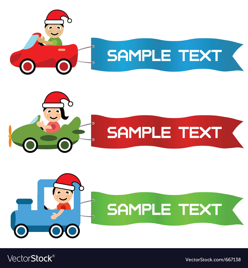Cartoon kids driving toy vehicle with message flag vector   Price: 1 Credit (USD $1)