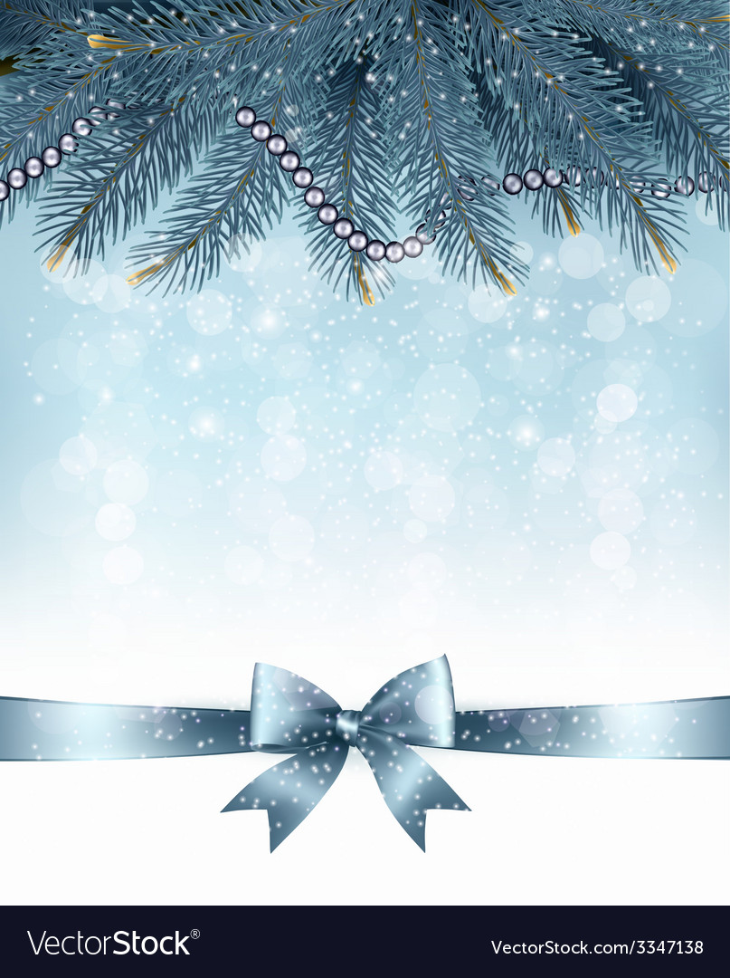 Christmas background with branches of tree and bow vector | Price: 3 Credit (USD $3)