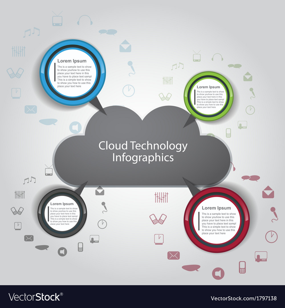 Cloud technology infographics vector | Price: 1 Credit (USD $1)