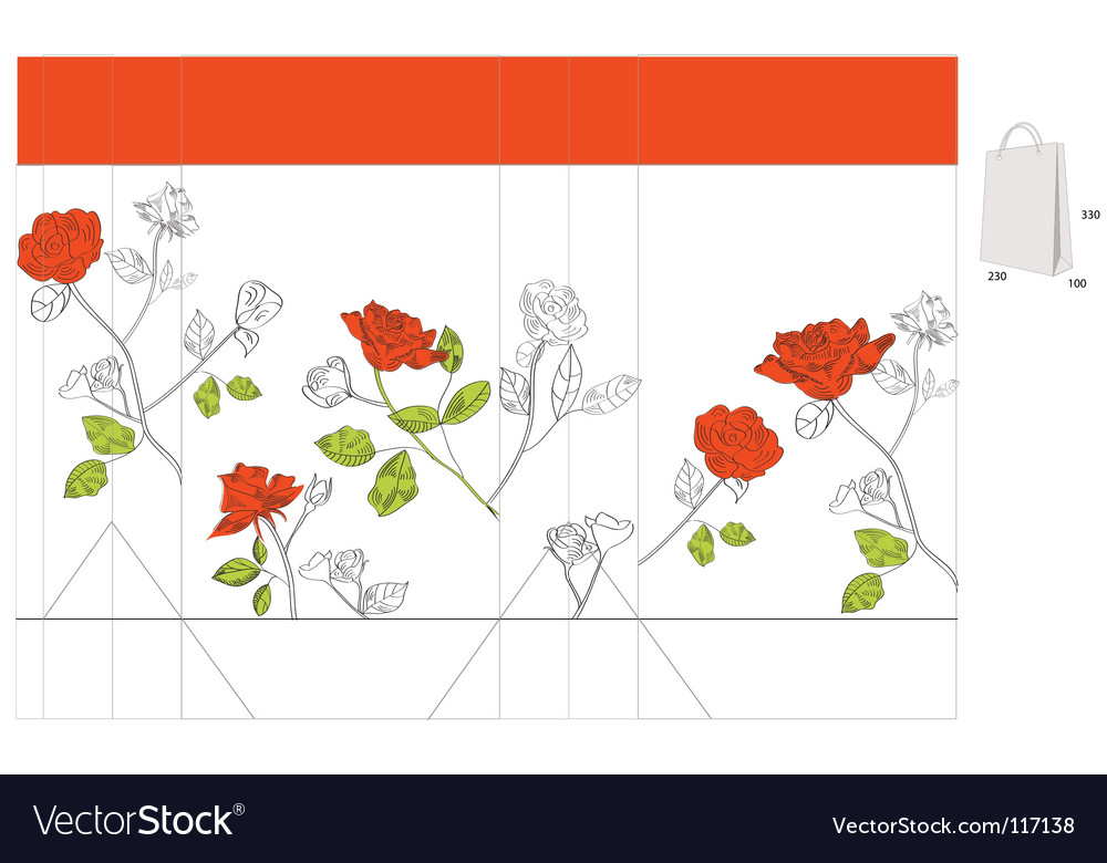 Gift bag with red roses vector | Price: 1 Credit (USD $1)