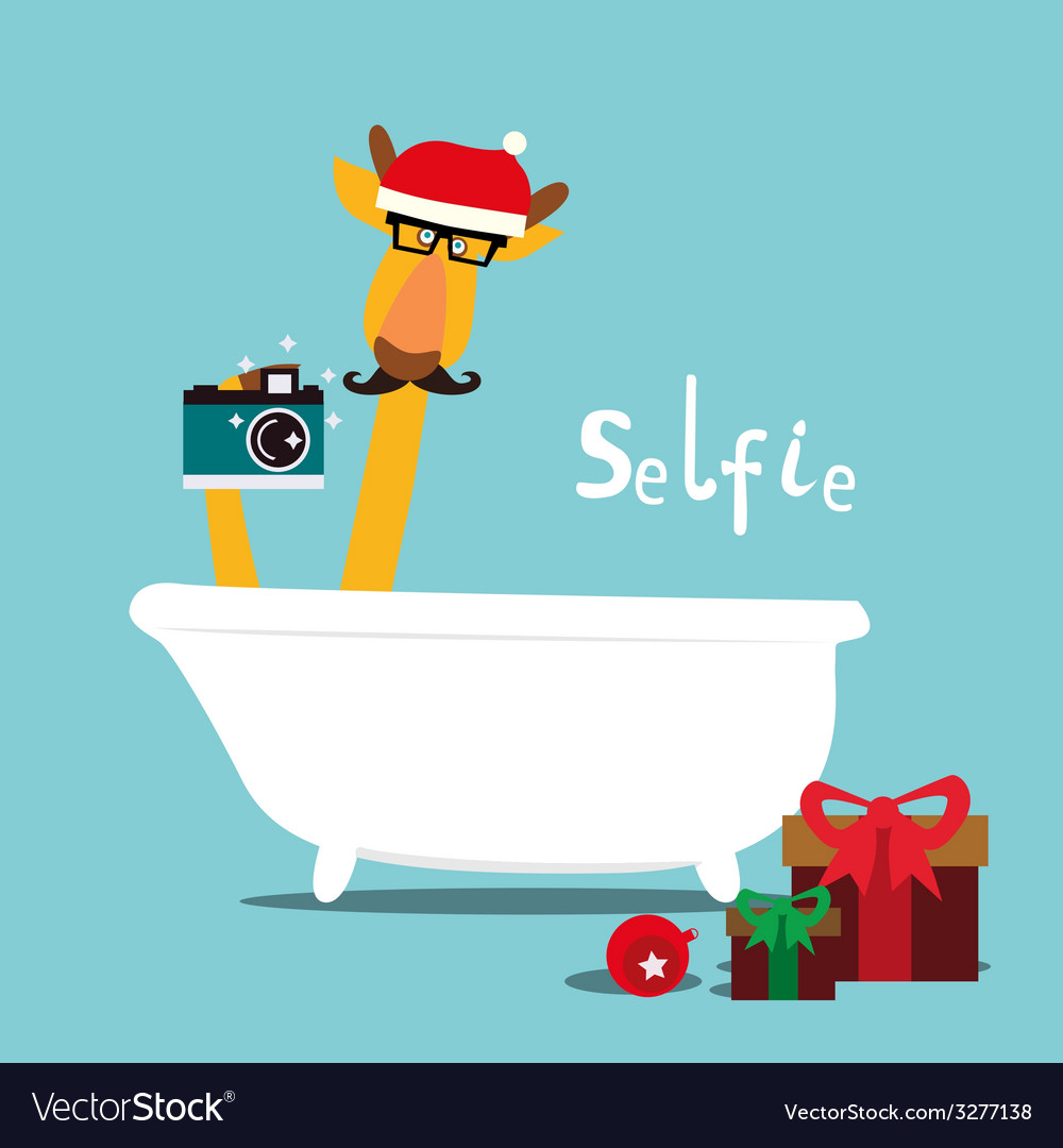 Holiday with giraffe in a bathroom vector | Price: 1 Credit (USD $1)
