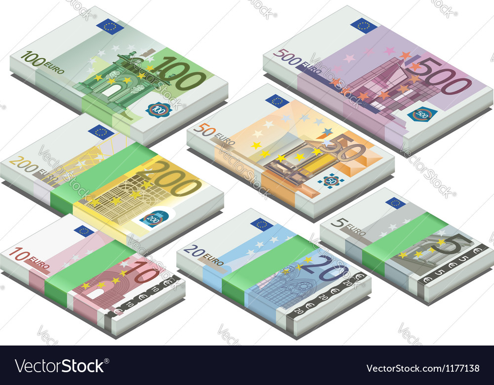 Isometric full set of euro banknotes vector | Price: 3 Credit (USD $3)