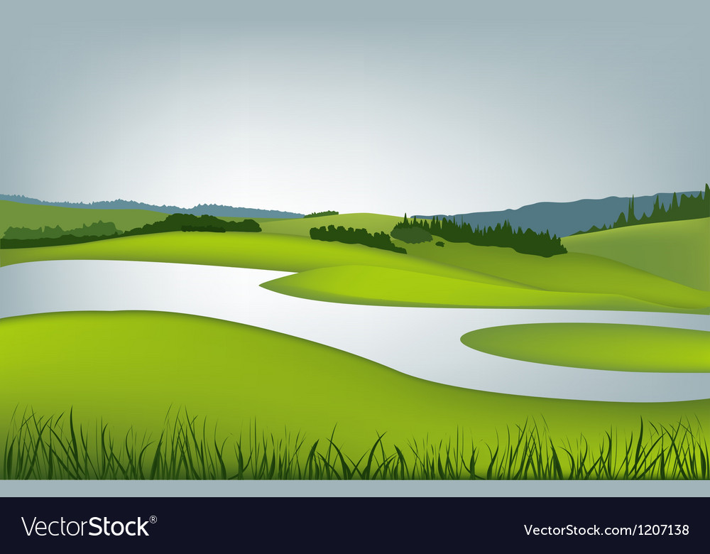 Mountain landscape with river vector | Price: 1 Credit (USD $1)