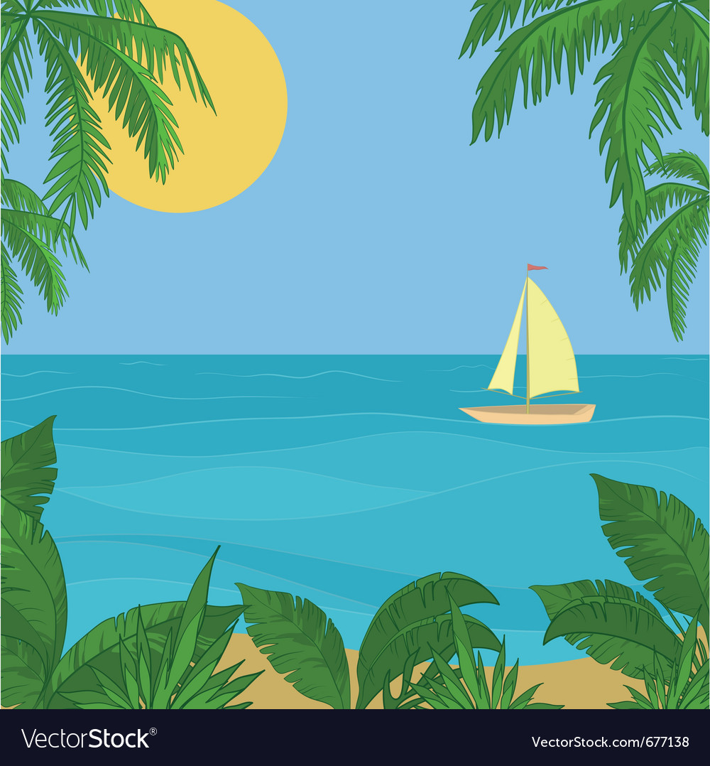 Sailing ship in the sea vector | Price: 1 Credit (USD $1)