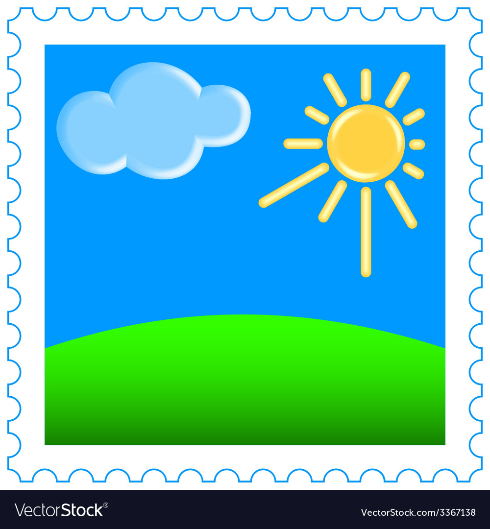 Sun and clouds on stamp vector | Price: 1 Credit (USD $1)