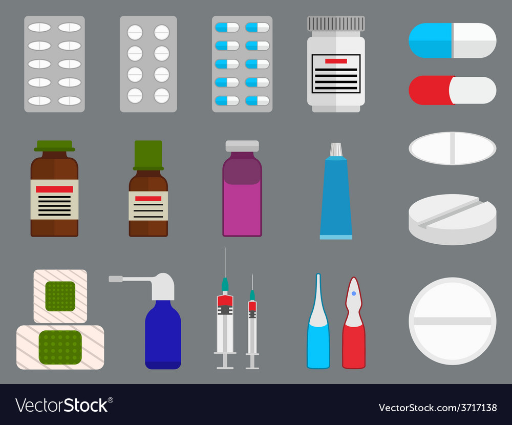 Tablets and medicine flat icons set vector | Price: 1 Credit (USD $1)