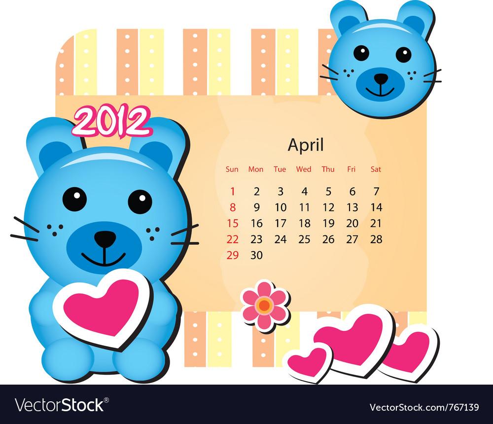 April bunny calendar vector | Price: 1 Credit (USD $1)