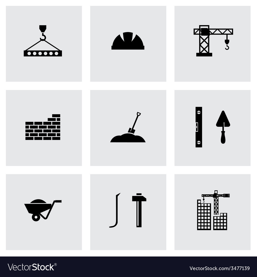 Black construction icon set vector | Price: 1 Credit (USD $1)