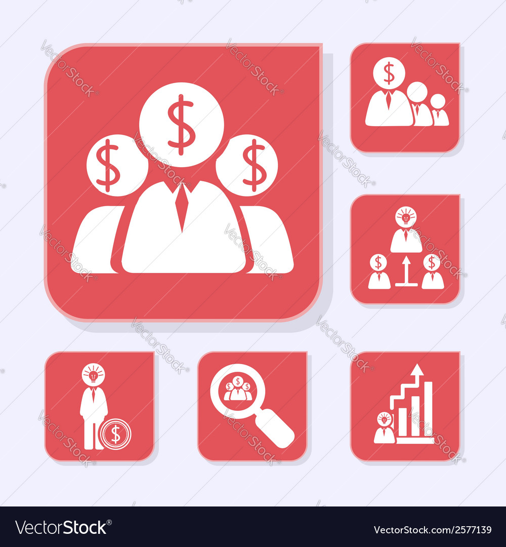 Business flat red icons vector | Price: 1 Credit (USD $1)