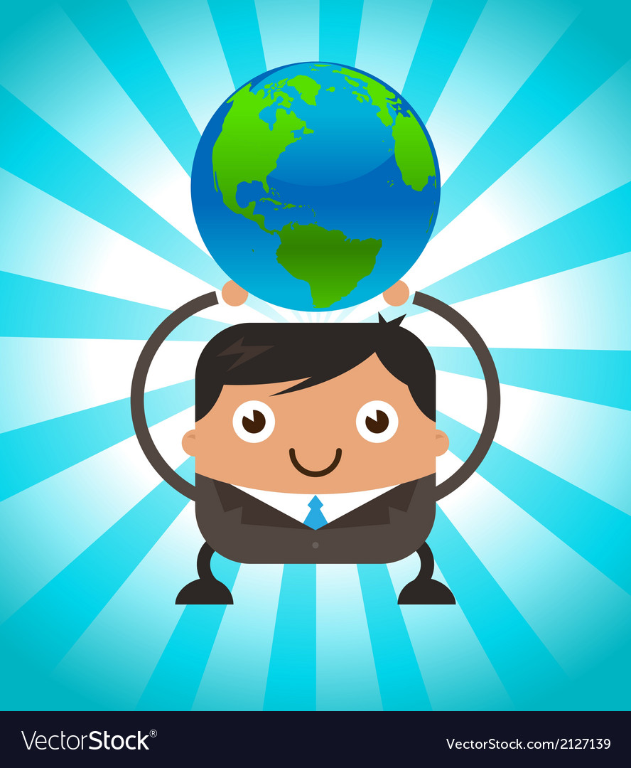 Business man holding planet earth vector | Price: 1 Credit (USD $1)