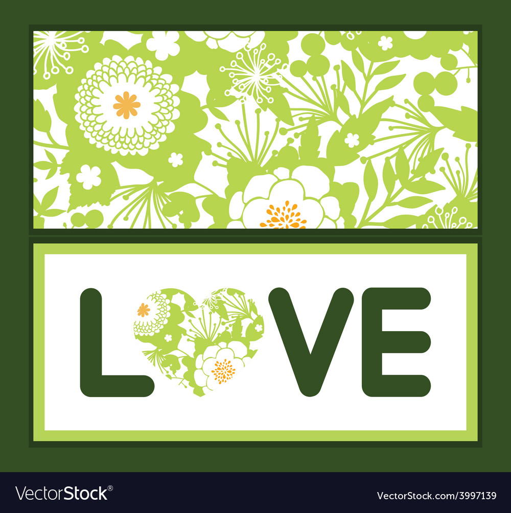 Green and golden garden silhouettes love vector | Price: 1 Credit (USD $1)