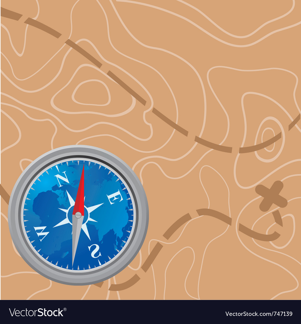 Map and compass vector | Price: 1 Credit (USD $1)