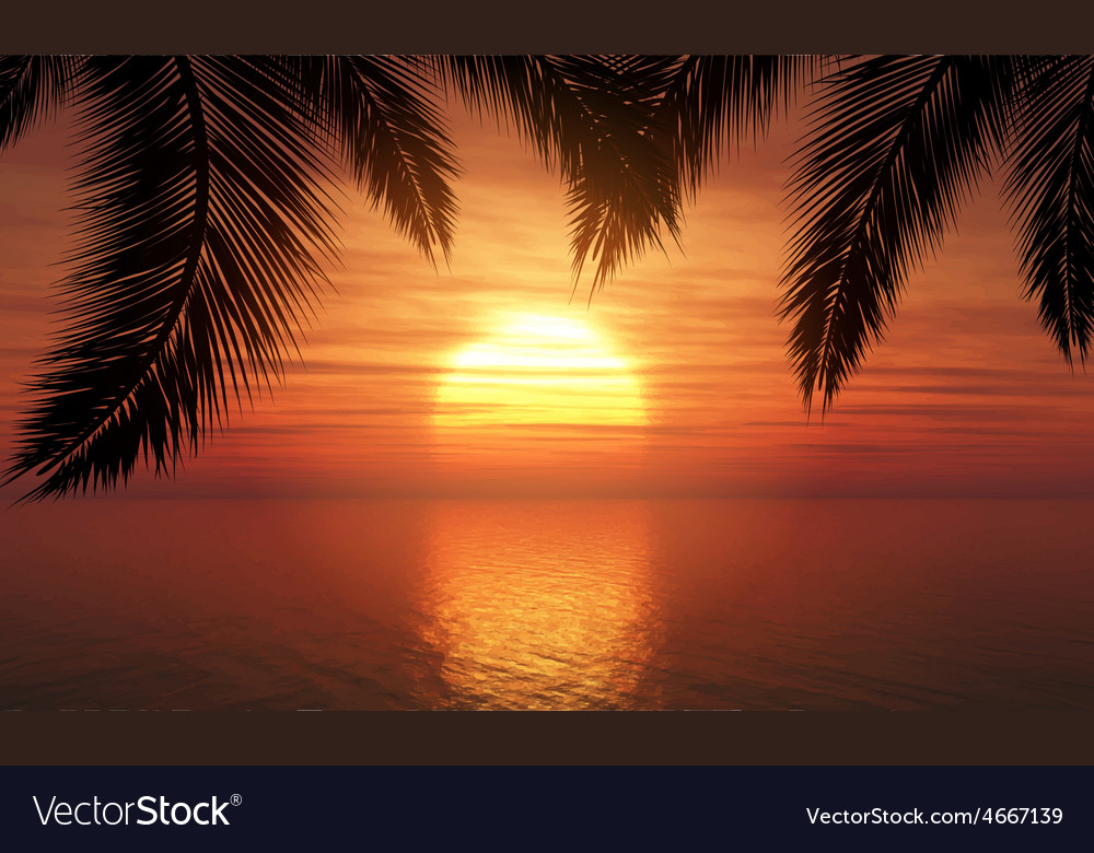 Palm trees against sunset sky 1305 vector | Price: 3 Credit (USD $3)