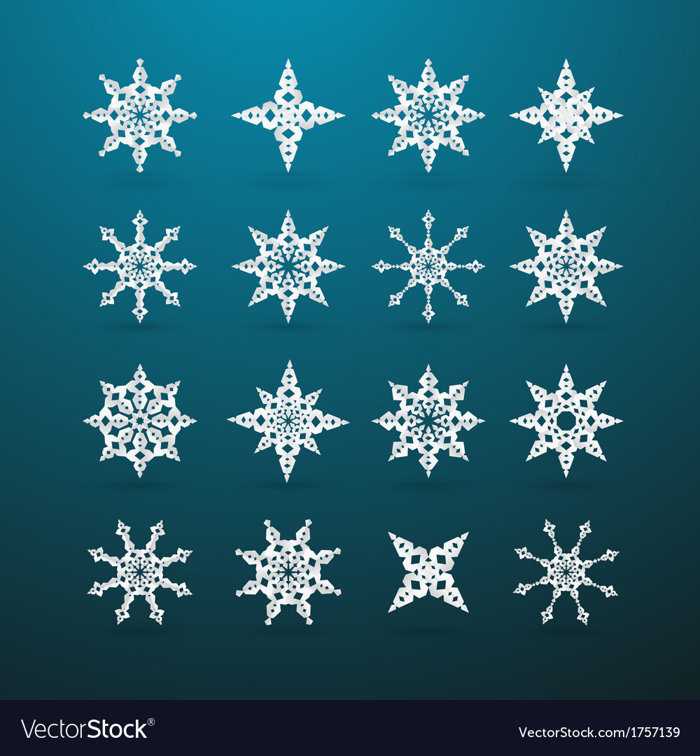 Paper christmas star set on blue background vector | Price: 1 Credit (USD $1)