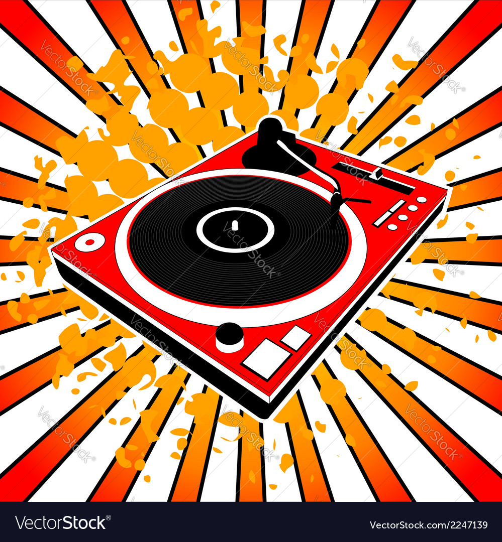 Red dj turntable vector | Price: 1 Credit (USD $1)