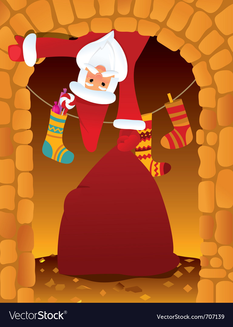 Santa claus and chimney vector | Price: 1 Credit (USD $1)