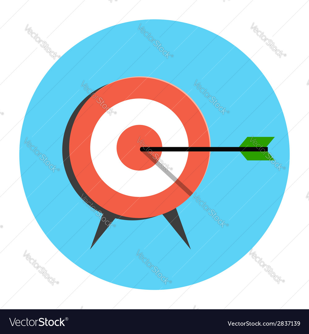 Target icon flat style isolated in colored circle vector | Price: 1 Credit (USD $1)