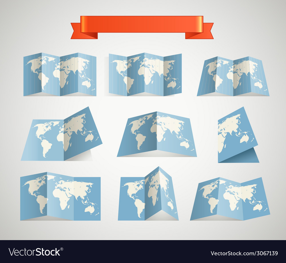 World map collection vector | Price: 1 Credit (USD $1)