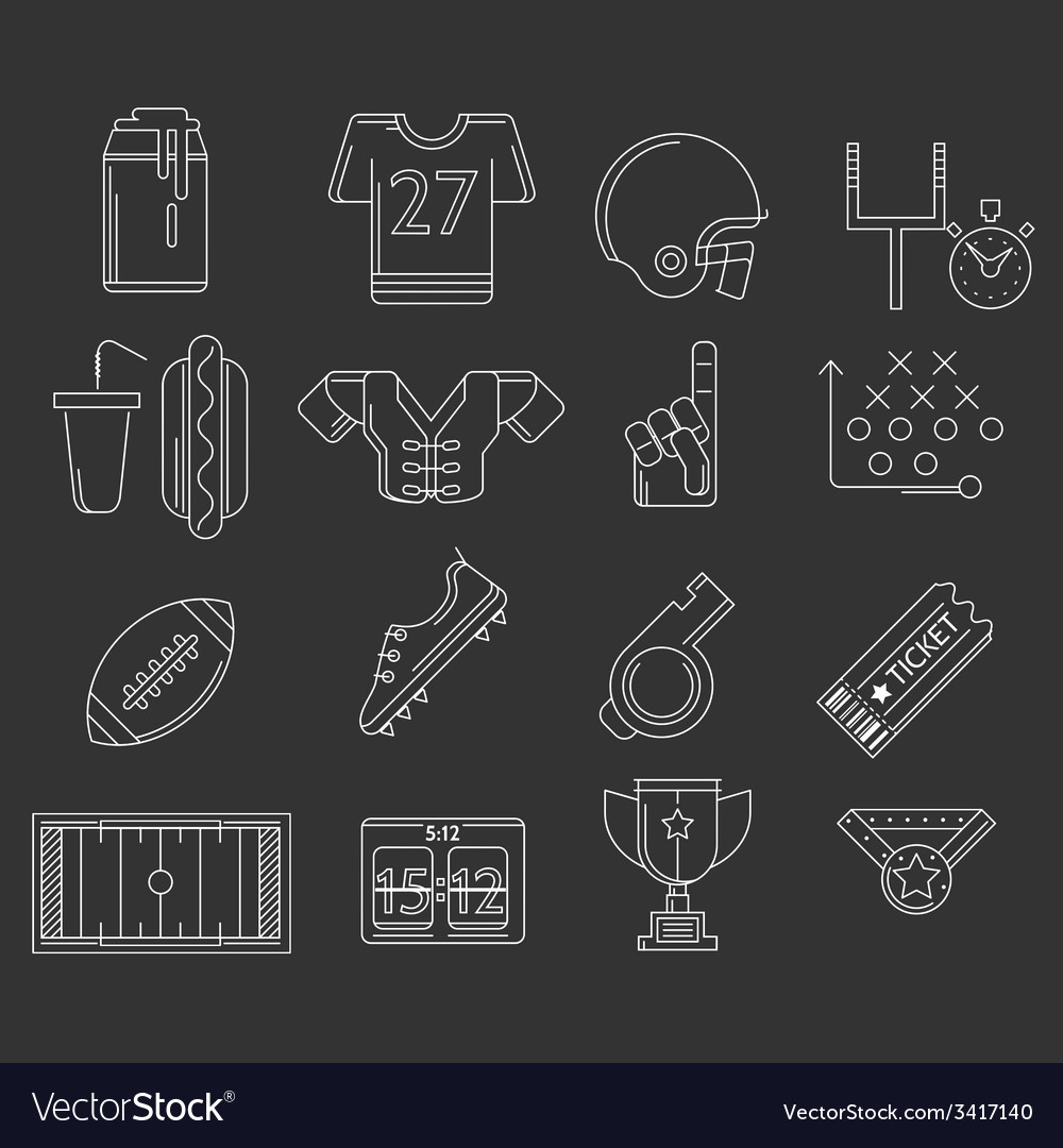 American football outline icons vector | Price: 1 Credit (USD $1)