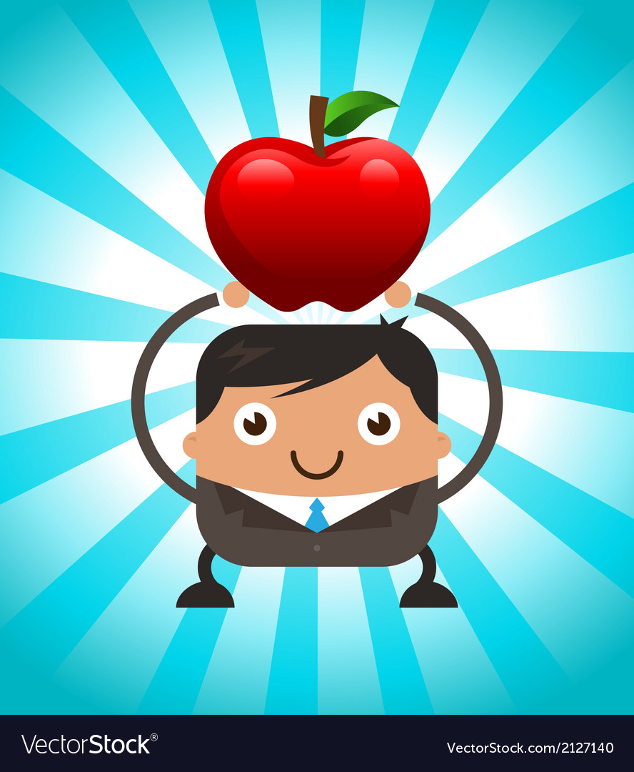 Business man holding red apple vector | Price: 1 Credit (USD $1)