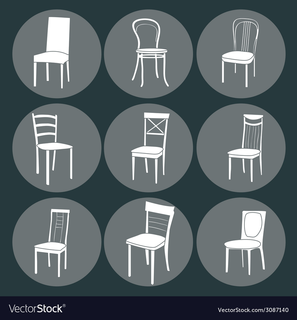 Chair icon set symbol furniture vector | Price: 1 Credit (USD $1)