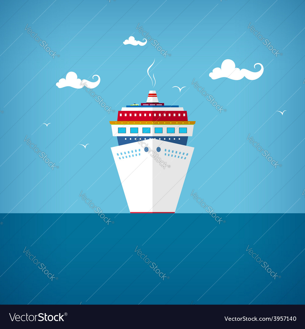 Cruise ship at sea or in the ocean in a sunny day vector