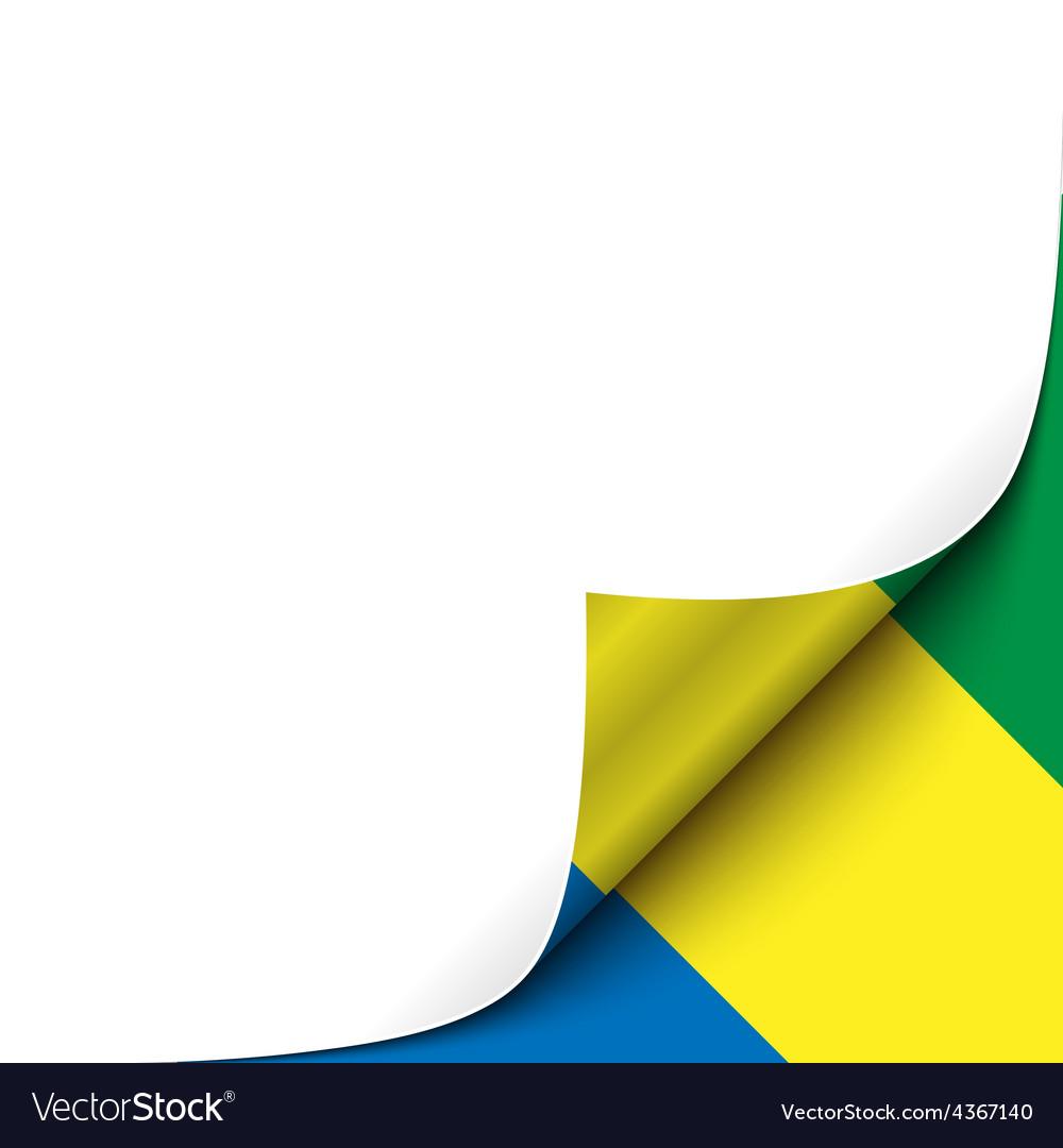 Curled up paper corner on gabonese flag background vector | Price: 1 Credit (USD $1)
