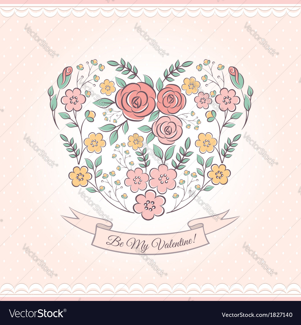 Floral graphic with heart vector | Price: 1 Credit (USD $1)