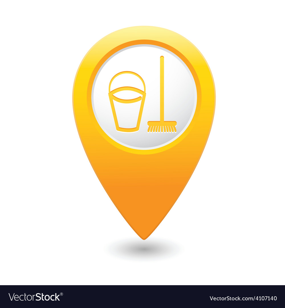 Mop and busket map pointer yellow vector | Price: 1 Credit (USD $1)