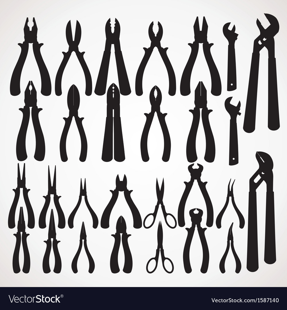 Pliers silhouette vector | Price: 1 Credit (USD $1)