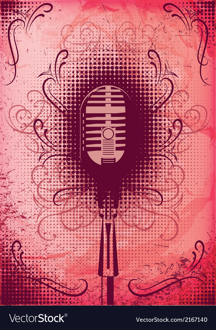 Retro poster with a microphone and decorative elem vector | Price: 1 Credit (USD $1)