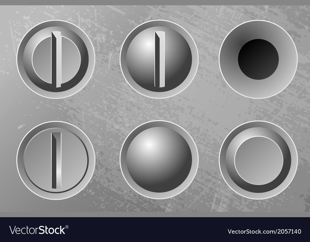 Six metal screws vector | Price: 1 Credit (USD $1)