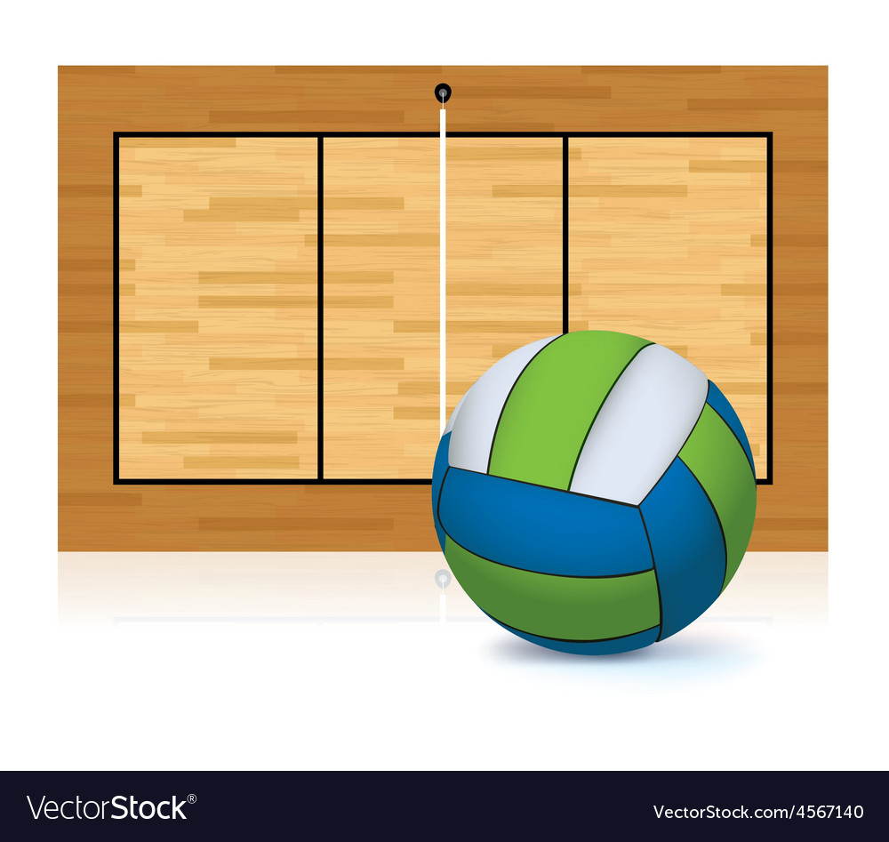 Volleyball and volleyball court isolated on white vector | Price: 1 Credit (USD $1)