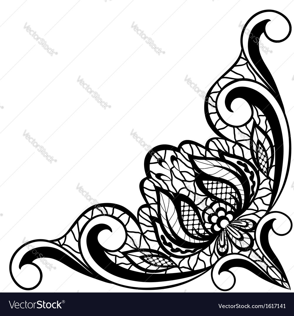 Black and white floral arrangement in border vector | Price: 1 Credit (USD $1)