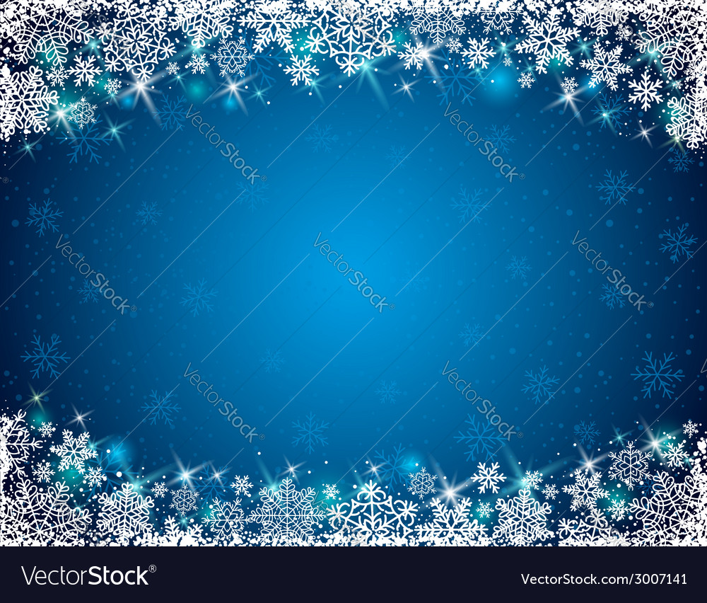 Blue background with frame of snowflakes vector | Price: 1 Credit (USD $1)