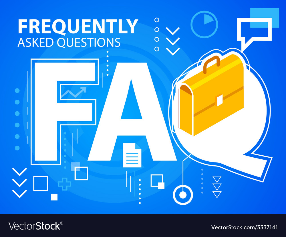 Bright faq and work suitcase on blue backgro vector | Price: 3 Credit (USD $3)