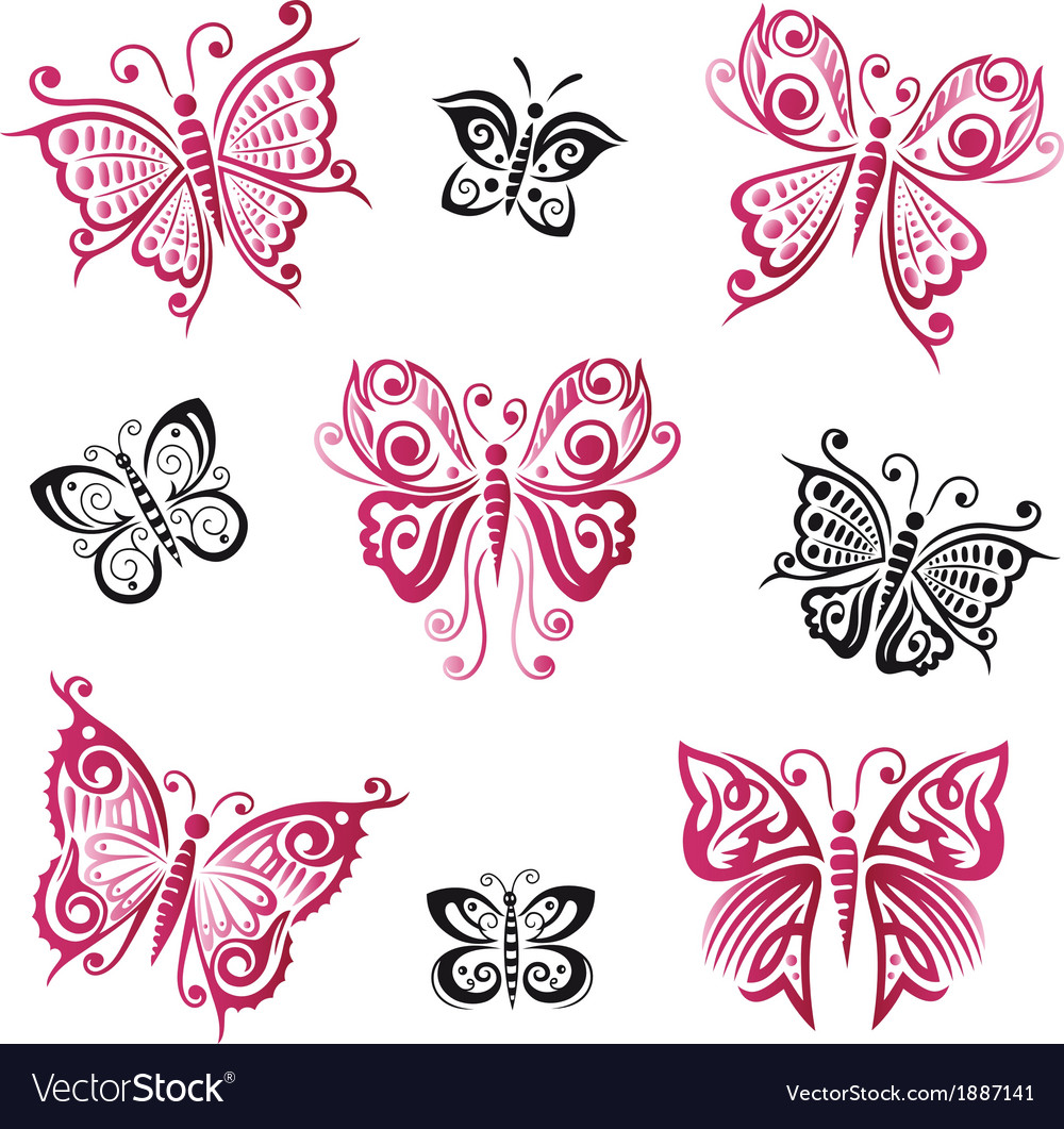 Butterflies summer objects vector | Price: 1 Credit (USD $1)