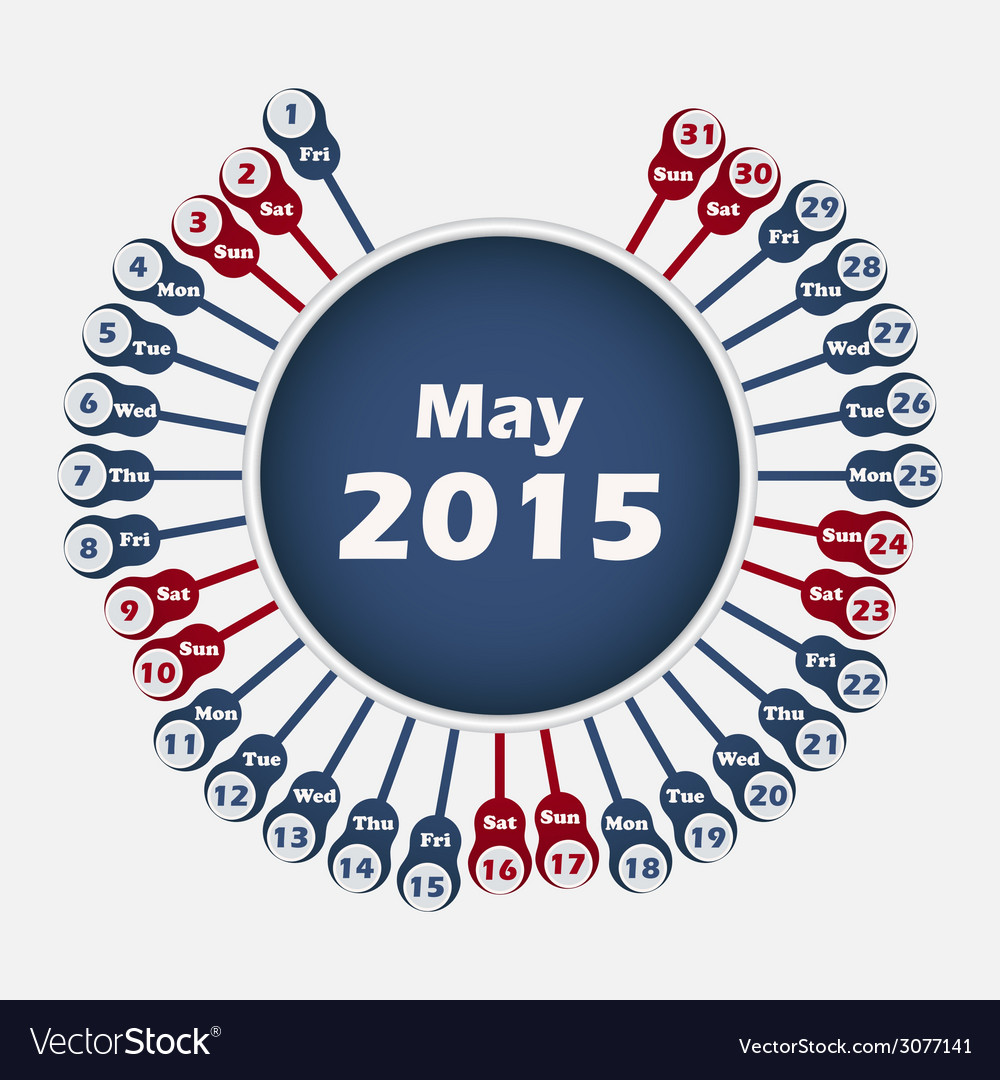 Calendar 2015 may template vector | Price: 1 Credit (USD $1)