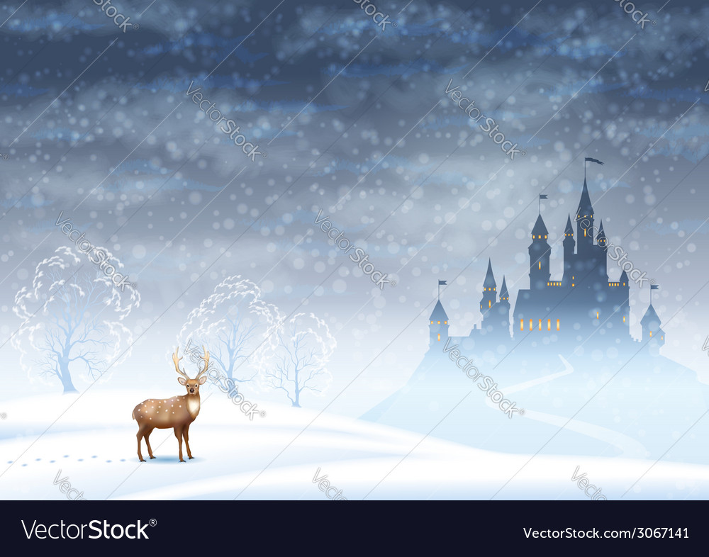 Christmas landscape winter castle vector | Price: 1 Credit (USD $1)