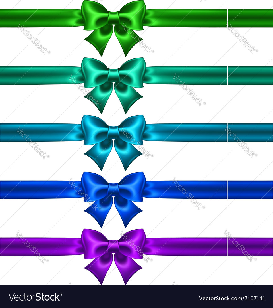 Festive bows in cool colors with ribbons vector | Price: 1 Credit (USD $1)