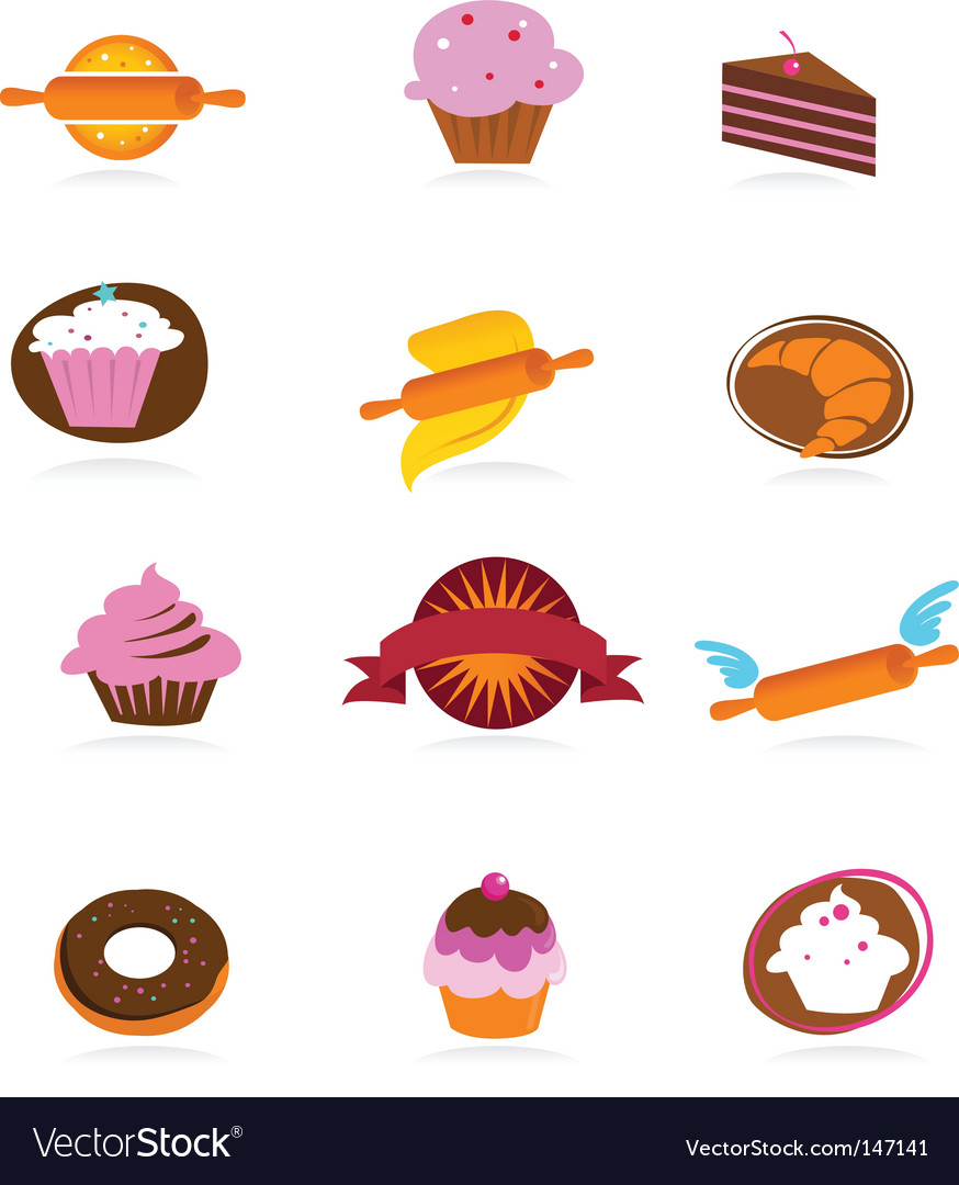 Food and kitchen icons bakery series vector | Price: 1 Credit (USD $1)