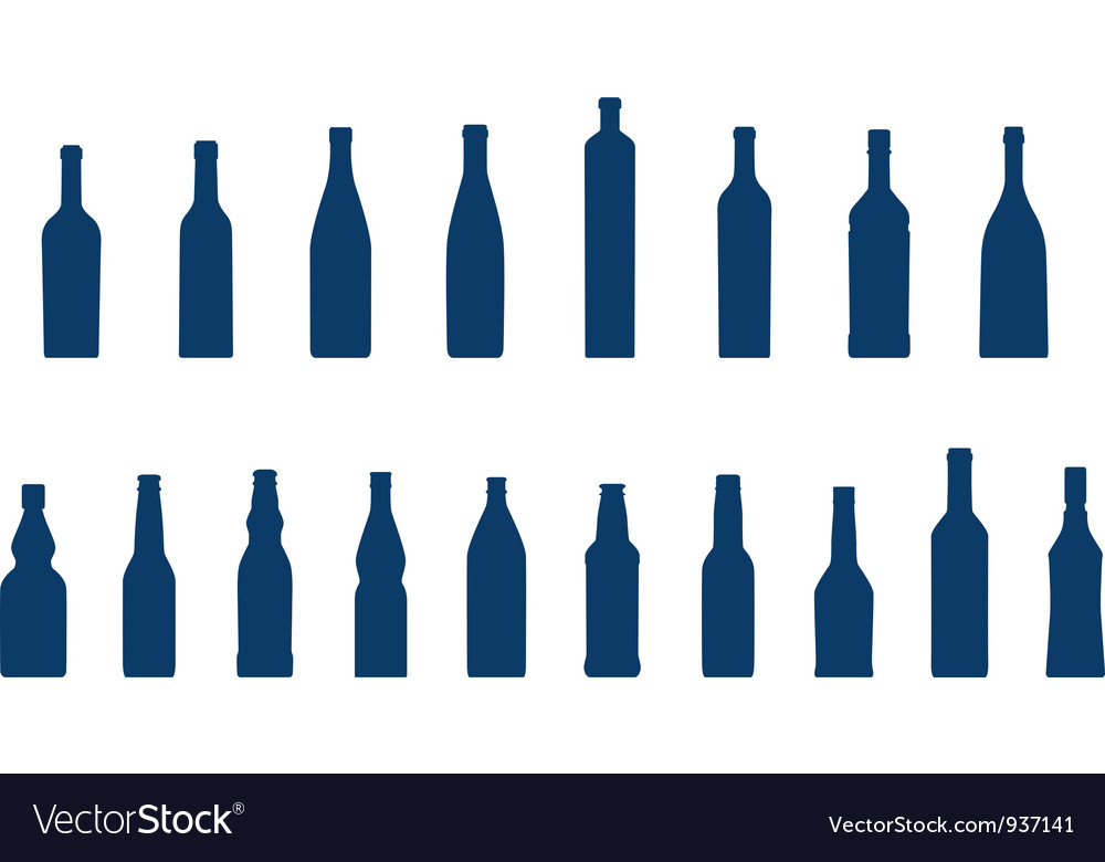Glass bottle silhouettes vector | Price: 1 Credit (USD $1)