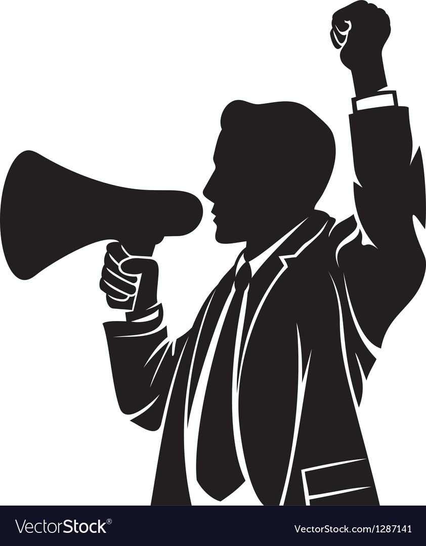 Man speaking in megaphone vector | Price: 1 Credit (USD $1)