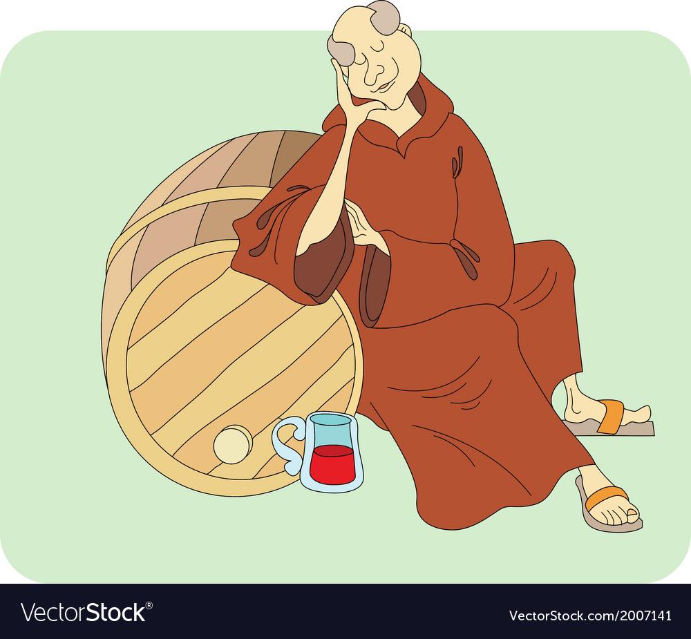 Monk sleeps vector | Price: 1 Credit (USD $1)