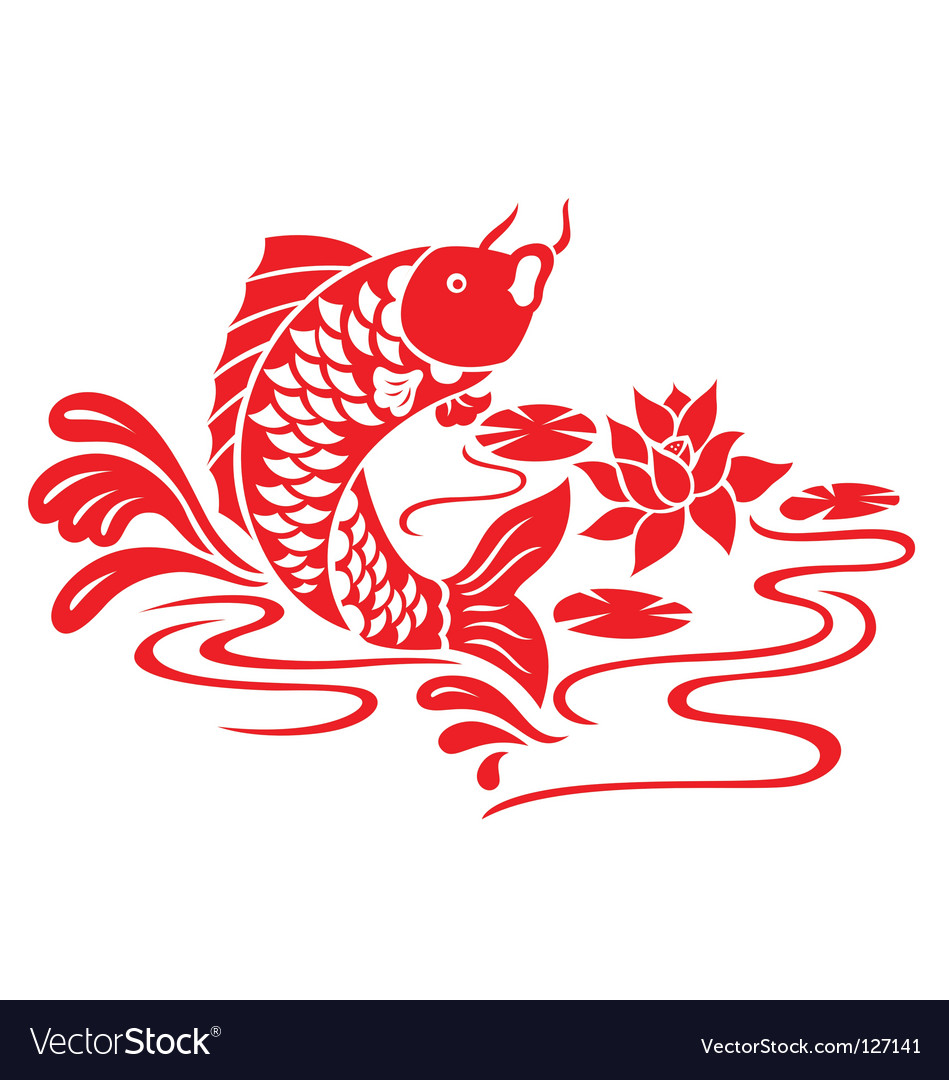 Oriental fish swimming vector | Price: 1 Credit (USD $1)