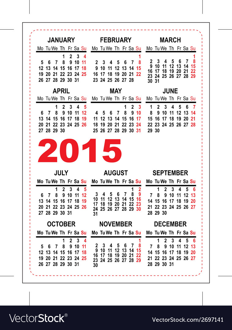 Pocket calendar 2015 vector | Price: 1 Credit (USD $1)