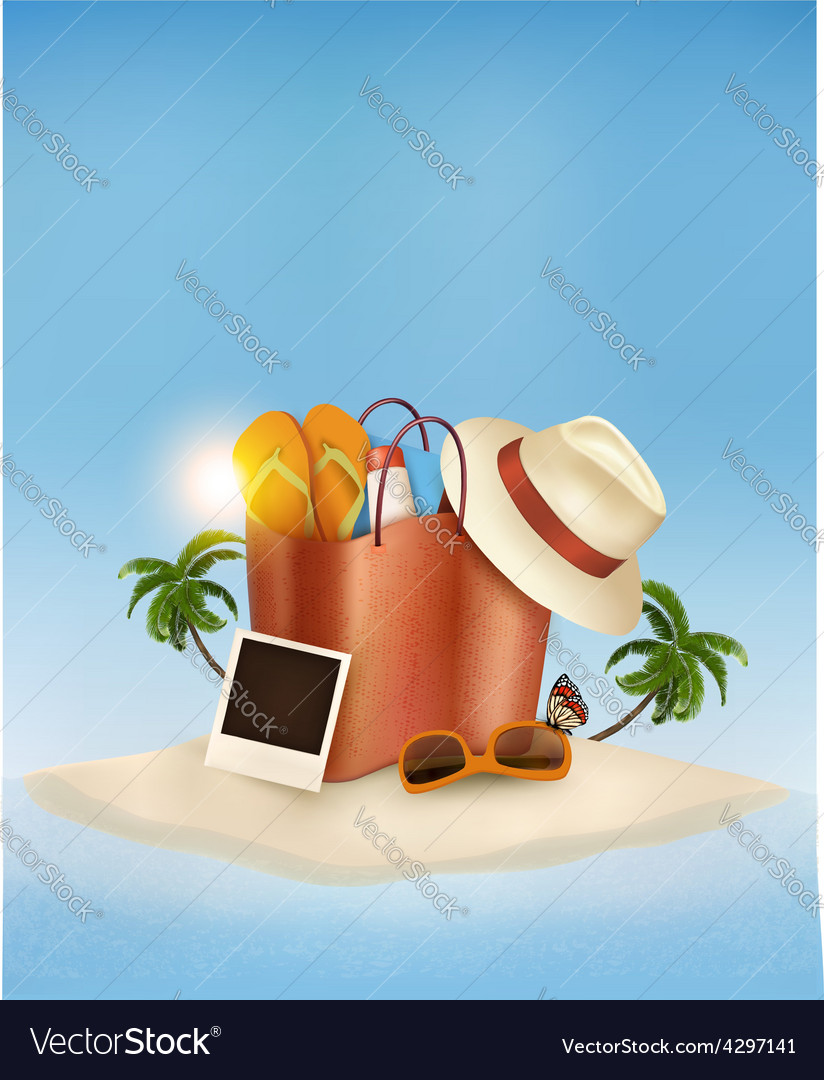 Vacation concept palm tree photos and a bag full vector | Price: 3 Credit (USD $3)