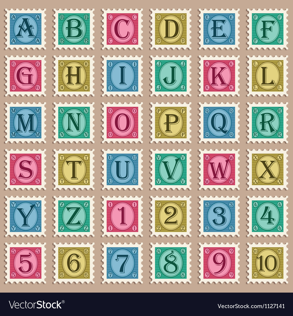 Vintage alphabet stamps vector   Price: 1 Credit (USD $1)