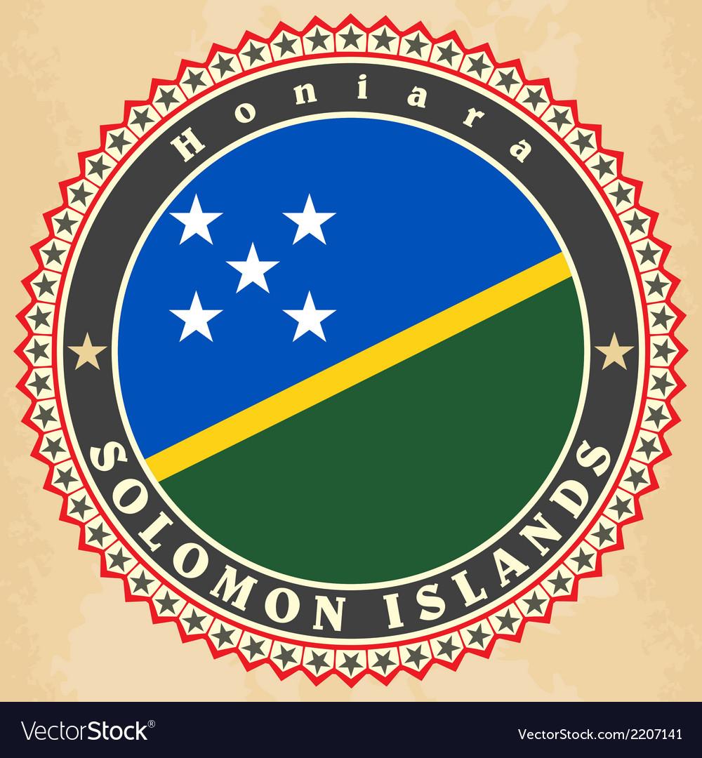 Vintage label cards of solomon islands flag vector | Price: 1 Credit (USD $1)