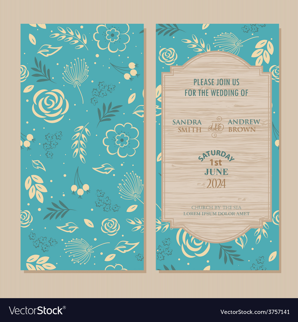 Wedding invitation blue vector | Price: 1 Credit (USD $1)